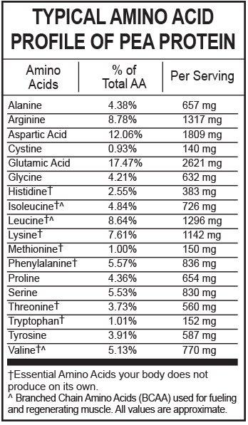 aminogramme protéine de pois